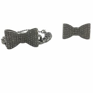 Bling Silver Bow Stretch Ring and Bracelet Bundle